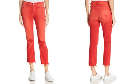 Hudson Zoeey High Rise Straight Destructed Jeans in Red Alert - Bloomingdale's_2