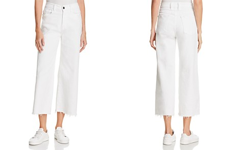 FRAME Le Palazzo Raw-Edge Cropped Jeans in Blanc - 100% Exclusive - Bloomingdale's_2