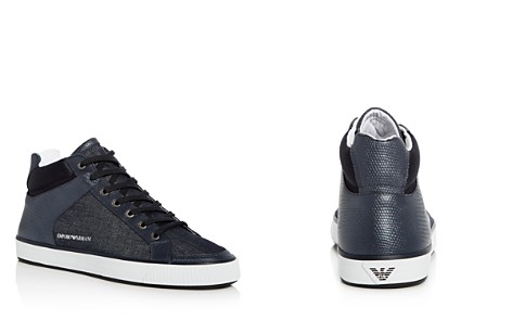 Armani Men's Denim Mid Top Sneakers - Bloomingdale's_2