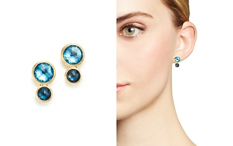 Marco Bicego 18K Yellow Gold Jaipur Mixed Blue Topaz Climber Stud Earrings - 100% Exclusive - Bloomingdale's_2