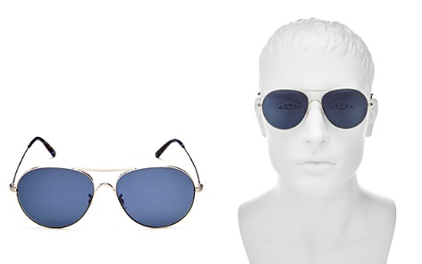 Oliver Peoples Rockmore Oversized Brow Bar Aviator Sunglasses, 58mm - Bloomingdale's_2