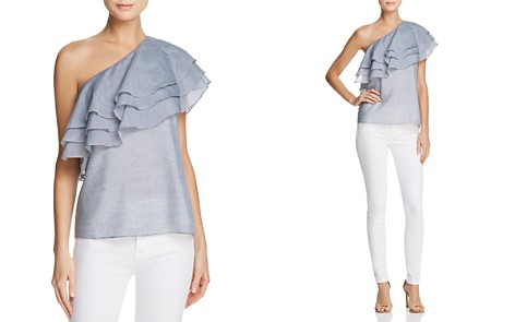 C/MEO Collective Sanctum Ruffled One-Shoulder Striped Top - Bloomingdale's_2