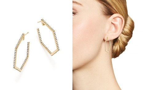 Bloomingdale's Diamond Geometric Open Hoop Earrings in 14K Yellow Gold, 1.0 ct. t.w. - 100% Exclusive _2