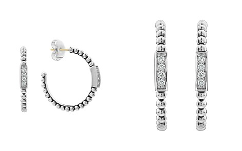 LAGOS Sterling Silver Caviar Spark Diamond Hoop Earrings - Bloomingdale's_2