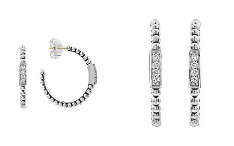 LAGOS Sterling Silver Caviar Spark Diamond Hoop Earrings - Bloomingdale's_2