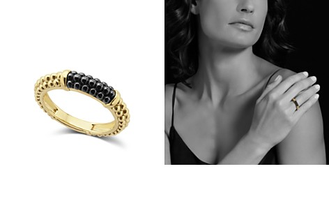 LAGOS Gold & Black Caviar Collection 18K Gold & Ceramic Ring - Bloomingdale's_2