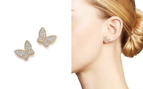 Roberto Coin 18K Yellow Gold Tiny Treasures Diamond Butterfly Earrings - Bloomingdale's_2