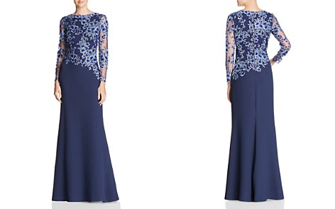 Tadashi Shoji Embroidered-Bodice Crepe Gown - Bloomingdale's_2