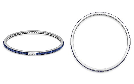 LAGOS Sterling Silver Caviar Icon Lapis Beaded Bangle Bracelet - Bloomingdale's_2