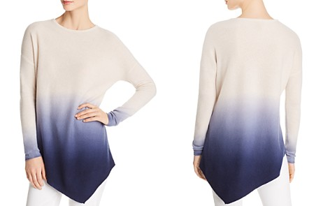 C by Bloomingdale's Asymmetric Dip-Dye Lightweight Cashmere Sweater - 100% Exclusive _2