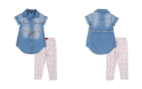 7 For All Mankind Girls' Denim Dress & Floral Leggings Set - Baby - Bloomingdale's_2