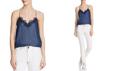 CAMI NYC Lace-Trimmed Chambray Silk Top - Bloomingdale's_2