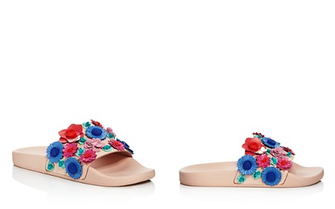 kate spade new york Women's Skye Floral Leather Pool Slide Sandals - Bloomingdale's_2