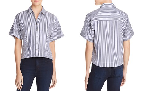 Theory Striped Crop Shirt - Bloomingdale's_2