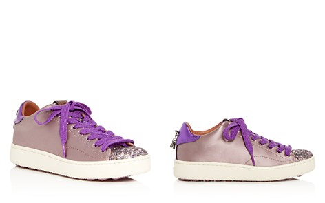 COACH Women's C101 Glitter & Satin Embellished Lace Up Sneakers - Bloomingdale's_2