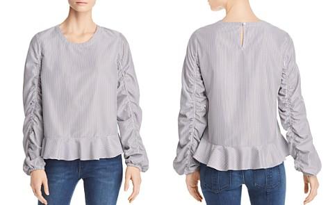 Marled Striped Ruched-Sleeve Top - Bloomingdale's_2