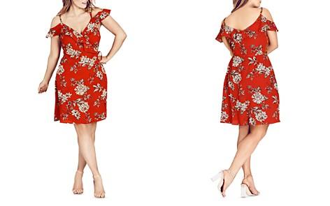 City Chic Wild Floral Cold-Shoulder Dress - Bloomingdale's_2