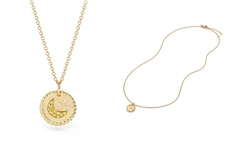 David Yurman Cable Collectibles Moon & Stars Necklace with Diamonds & Yellow Sapphire in 18K Gold - Bloomingdale's_2