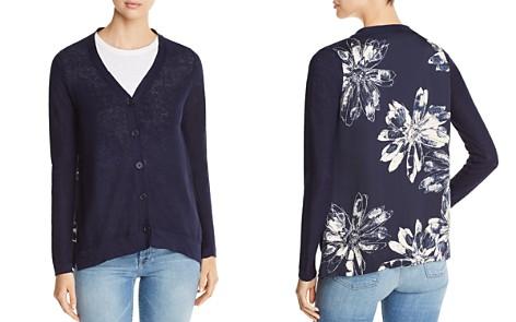 Donna Karan New York Floral-Back Mixed-Media Cardigan - Bloomingdale's_2