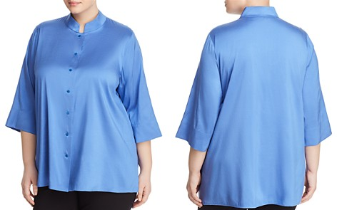 Eileen Fisher Plus Stand Collar Silk Blouse - Bloomingdale's_2