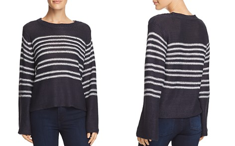 AQUA Bell Sleeve Striped Sweater - 100% Exclusive - Bloomingdale's_2
