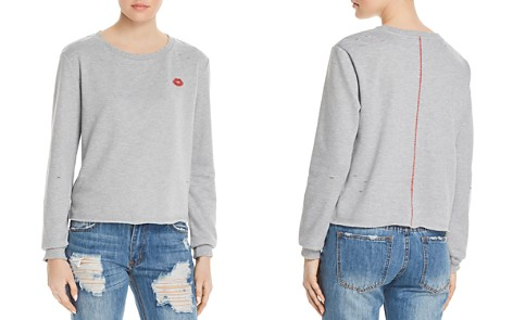 Honey Punch Lips Embroidered Distressed Sweatshirt - 100% Exclusive - Bloomingdale's_2