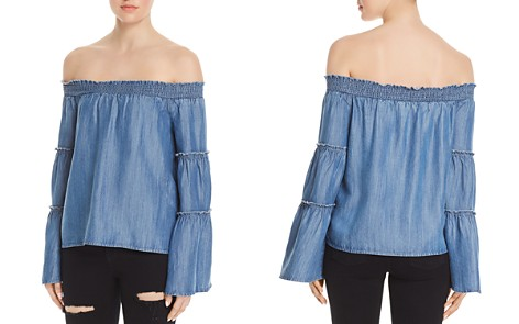 Honey Punch Bell Sleeve Off-the-Shoulder Chambray Top - Bloomingdale's_2