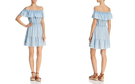 BB DAKOTA Coco Striped Off-the-Shoulder Chambray Dress - Bloomingdale's_2