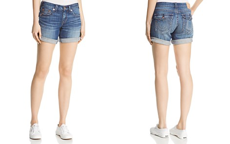 True Religion Jayde Flap Mid-Rise Denim Shorts in Hardwire Blue - Bloomingdale's_2