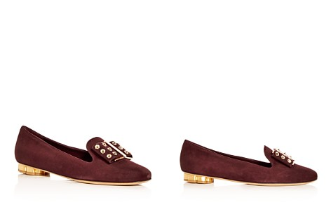 Salvatore Ferragamo Women's Sarno Suede Floral Heel Loafers - Bloomingdale's_2