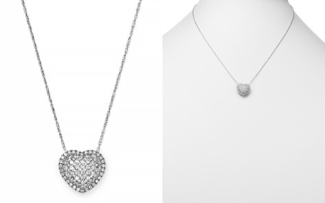 Bloomingdale's Pavé Diamond Heart Pendant Necklace in 14K White Gold, 1.0 ct. t.w. - 100% Exclusive _2