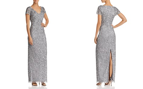 Adrianna Papell Short-Sleeve Beaded Gown - Bloomingdale's_2