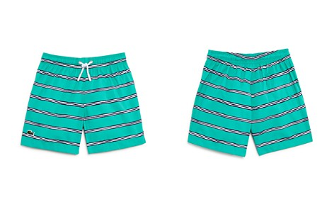 586a52cb7d5098 Lacoste Boys  Striped Swim Trunks - Little Kid