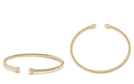 David Yurman Cable Spira Bracelet in 18K Gold with Diamonds - Bloomingdale's_2