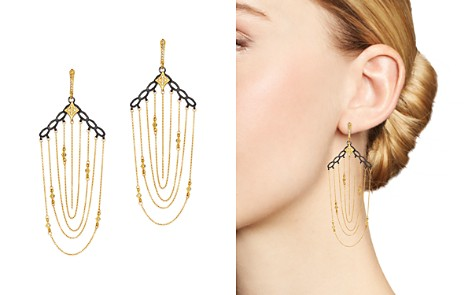 Armenta Blackened Sterling Silver & 18K Yellow Gold Old World Crivelli Champagne Diamond Chain Chandelier Earrings - Bloomingdale's_2