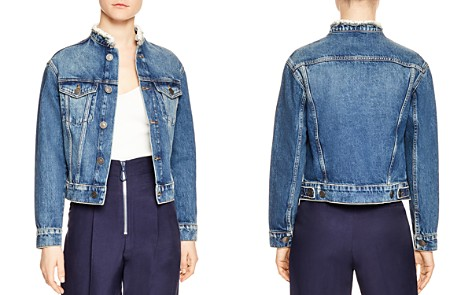 Sandro Eve Frayed Collar Denim Jacket - Bloomingdale's_2