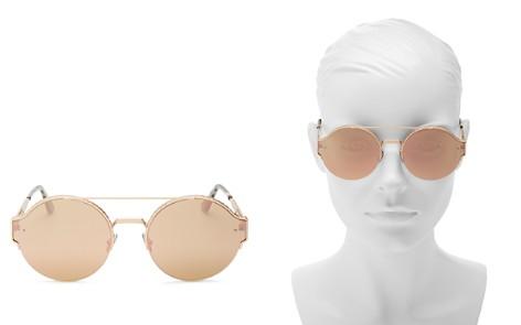Bottega Veneta Mirrored Brow Bar Round Sunglasses, 60mm - Bloomingdale's_2