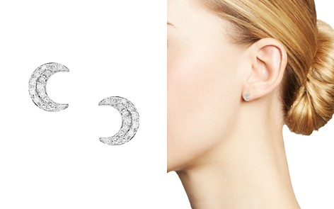 Bloomingdale's Diamond Moon Stud Earrings in 14K White Gold, 0.10 ct. t.w. - 100% Exclusive _2
