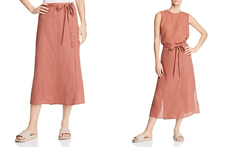 Eileen Fisher Faux Wrap Organic Linen Midi Skirt - Bloomingdale's_2