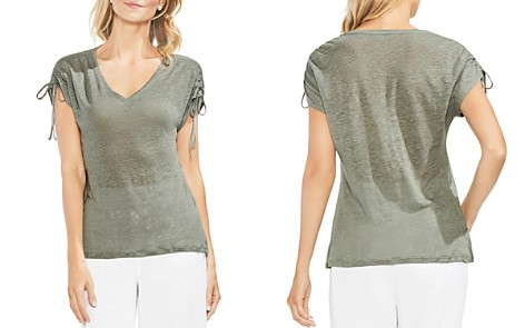 VINCE CAMUTO Heathered Linen Drawstring-Sleeve Tee - Bloomingdale's_2