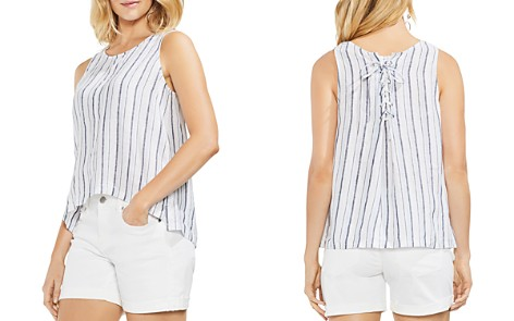 VINCE CAMUTO Striped Linen Lace-Up Tank - Bloomingdale's_2