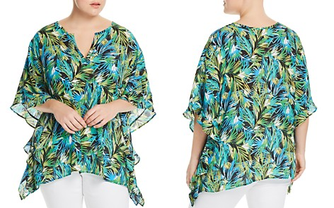 Status by Chenault Plus Tropical-Print Poncho Top - Bloomingdale's_2