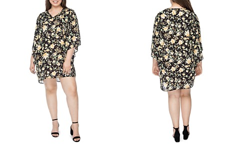 B Collection by Bobeau Curvy Morna Floral Flutter-Sleeve Dress - Bloomingdale's_2