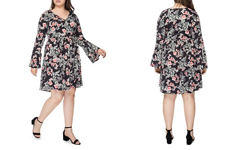 B Collection by Bobeau Curvy Forrest Floral Faux-Wrap Dress - Bloomingdale's_2