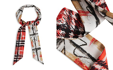 Burberry Scribble Check Silk Skinny Scarf - Bloomingdale's_2