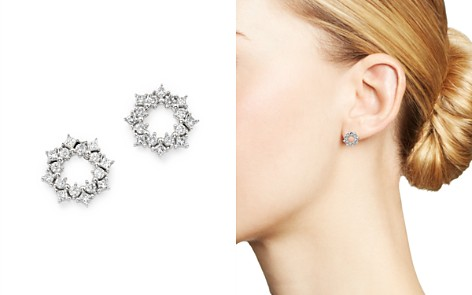 Bloomingdale's Princess-Cut & Round Diamond Circle Stud Earrings in 14K White Gold, 0.50 ct. t.w. - 100% Exclusive _2