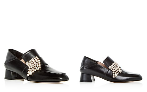 Stuart Weitzman Women's Irises Embellished Leather Block Heel Loafers - Bloomingdale's_2
