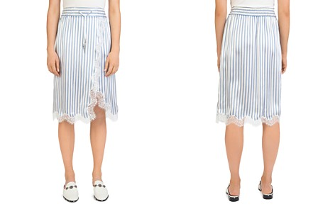 The Kooples Lace-Trim Striped Silk Skirt - Bloomingdale's_2
