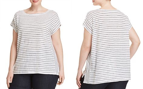 Eileen Fisher Plus Striped Organic Cotton Tee - Bloomingdale's_2