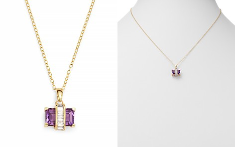 """Bloomingdale's Amethyst & Diamond Pendant Necklace in 14K Yellow Gold, 18"""" - 100% Exclusive _2"""